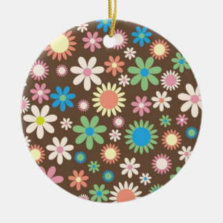 Mint and Pink Chocolate Flowers Round Ceramic Decoration