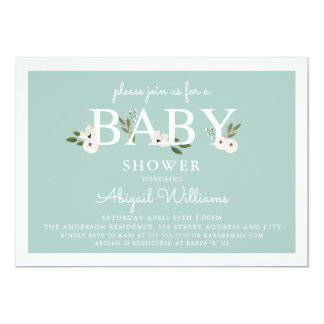 Mint and pink Floral Baby Shower Card