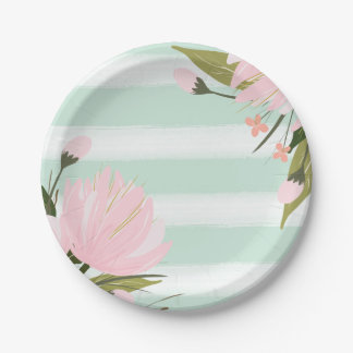 Mint and Pink Floral Paper Plate