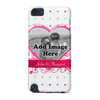 Mint and Pink Heart dots pattern Monogram Template iPod Touch (5th Generation) Cover