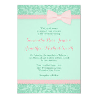Mint and Pink Lace Wedding Invitation