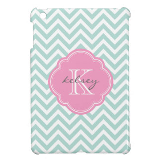 Mint and Pink Modern Chevron Custom Monogram Case For The iPad Mini