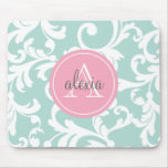 Mint and Pink Monogrammed Damask Print