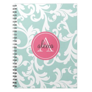 Mint and Pink Monogrammed Damask Print Notebooks