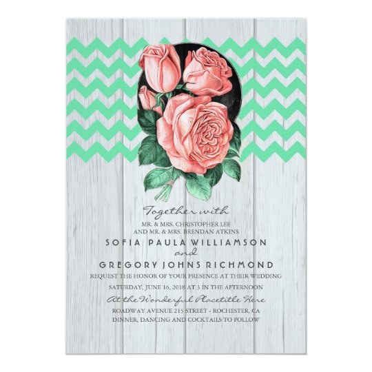 Mint and Pink Rustic Chic Wedding Invitations