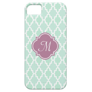 Mint and Plum Moroccan Monogram Barely There iPhone 5 Case