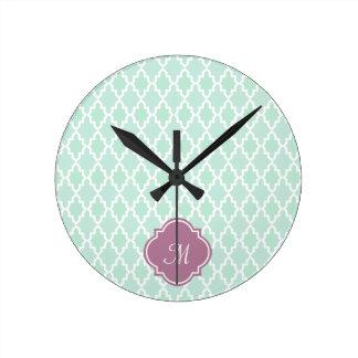 Mint and Plum Moroccan Monogram Clocks