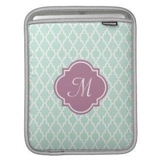 Mint and Plum Moroccan Monogram iPad Sleeve