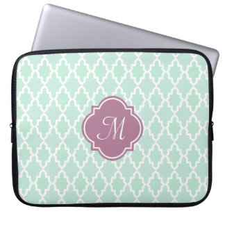 Mint and Plum Moroccan Monogram Laptop Sleeve