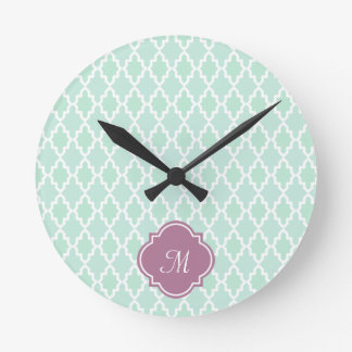 Mint and Plum Moroccan Monogram Round Clock