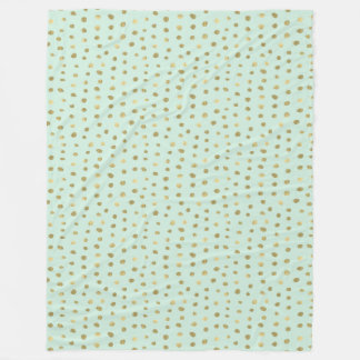 Mint and Pretty Gold Dots Fleece Blanket