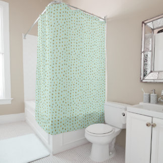 Mint and Pretty Gold Dots Shower Curtain
