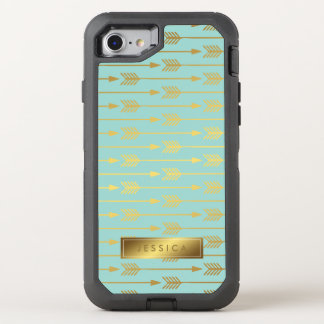 Mint and Printed Gold Arrows Pattern OtterBox Defender iPhone 8/7 Case