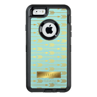 Mint and Printed Gold Arrows Pattern OtterBox Defender iPhone Case