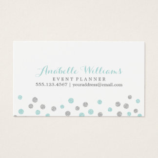 Mint and Silver Glitter Confetti Dots Business Card