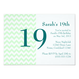 Mint and Teal Chevron Birthday Invitation