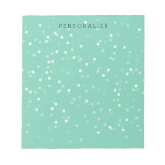 Mint and White Bokeh Confetti Notepad