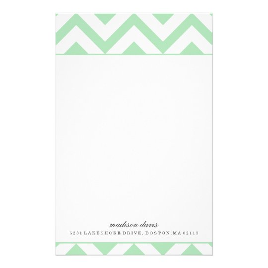 Mint and White Chevron | Personalised Stationery