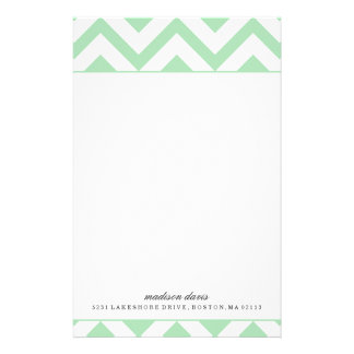 Mint and White Chevron | Personalized Stationery