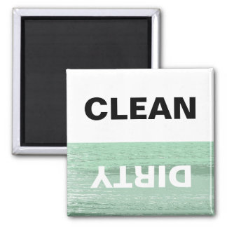 Mint and White Clean/Dirty Dishwasher Square Magnet