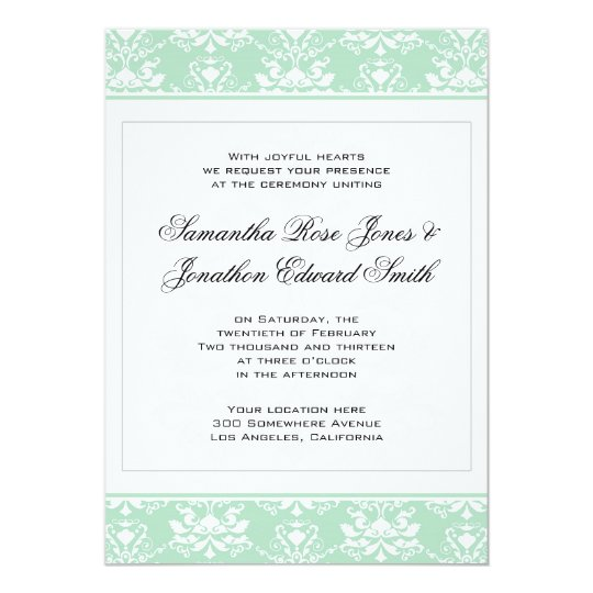 Mint and White Damask Wedding Invitation