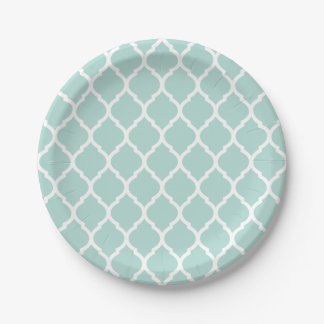 Mint and White Moroccan Quatrefoil Paper Plate