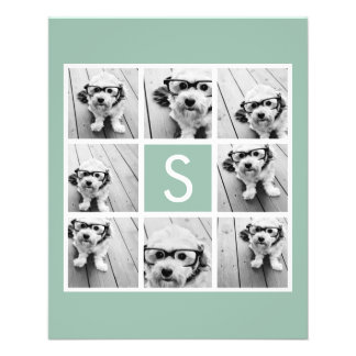 Mint and White Photo Collage with Monogram Flyer