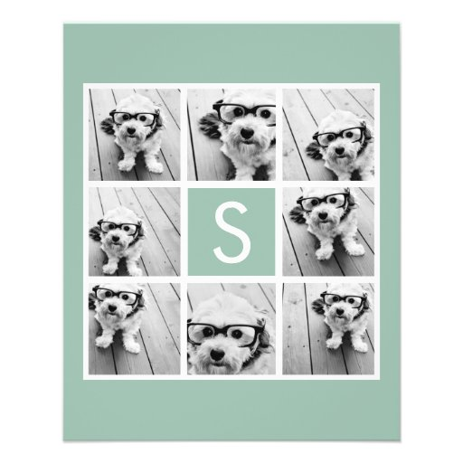 Mint and White Photo Collage with Monogram Personalized Flyer