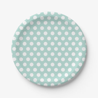 Mint and White Polka Dots Paper Plate