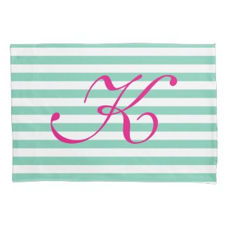 Mint and white striped pink monogrammed pillowcase
