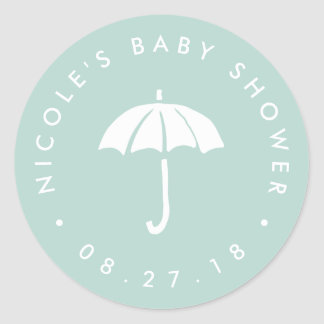 Mint and White Umbrella Baby Shower Classic Round Sticker