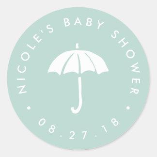 Mint and White Umbrella Baby Shower Round Sticker