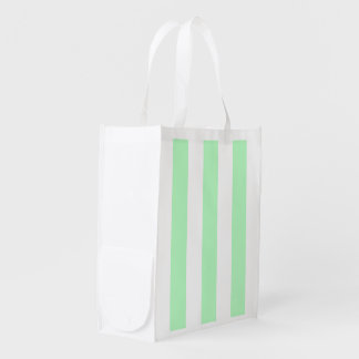 Mint and White XL Stripes Pattern Reusable Grocery Bag