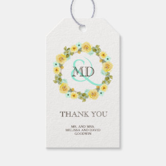 Mint and Yellow Wedding Favor Gift Hang Tag