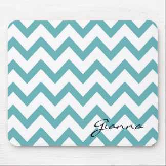 Mint Aqua White Chevron Mouse Mat