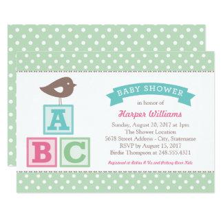 Mint Baby Shower Invitation   ABC Alphabet Blocks