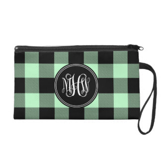 Mint Black Buffalo Check Plaid Vine Monogram Wristlet Clutches