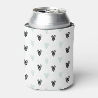 Mint & Black Hearts Doodles Pattern Girly Can Cool Can Cooler