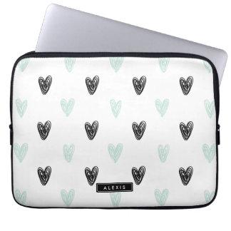 Mint & Black Hearts Doodles Pattern Personalized Laptop Sleeve