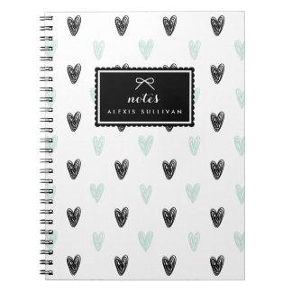 Mint & Black Hearts Pattern Personalized Notebook