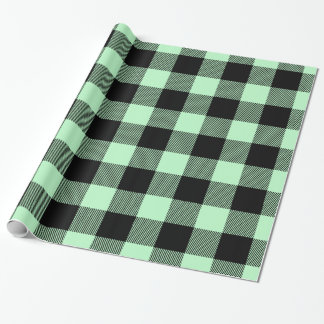 Mint Black Huge Buffalo Plaid Lumberjack Tartan Wrapping Paper