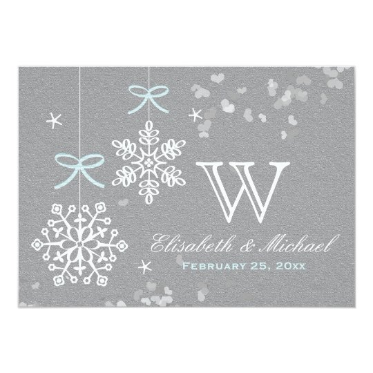 Mint Blue and Grey Snowflake Wedding Invitations