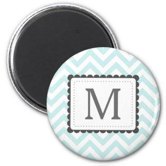 Mint Blue And White Chevron Custom Monogram 6 Cm Round Magnet