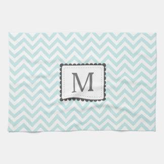Mint Blue And White Chevron Custom Monogram Tea Towel