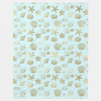 Mint Blue Gold Sea Shells Fleece Blanket