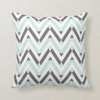 Mint Blue Gray White Geometric Chevron Pattern Cushion