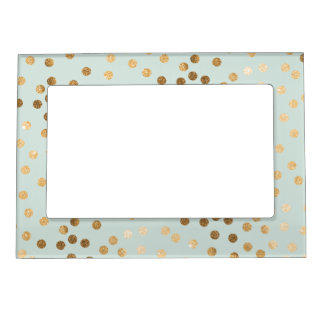 Mint Blue Green and Gold Glitter Dots Magnetic Picture Frames