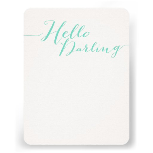 Mint Blue Hello Darling Flat Note Cards