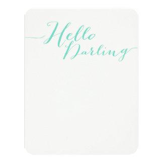 "Mint Blue Hello Darling Flat Note Cards 4.25"" X 5.5"" Invitation Card"