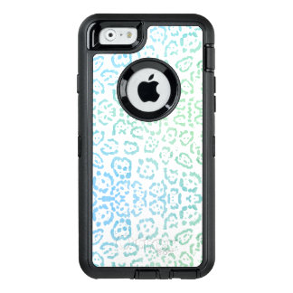 Mint Blue Leopard Pastel Kawaii Animal Print Green OtterBox Defender iPhone Case